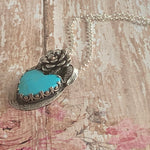 Baja Turquoise Heart Sterling Silver Necklace with a beautiful rose.