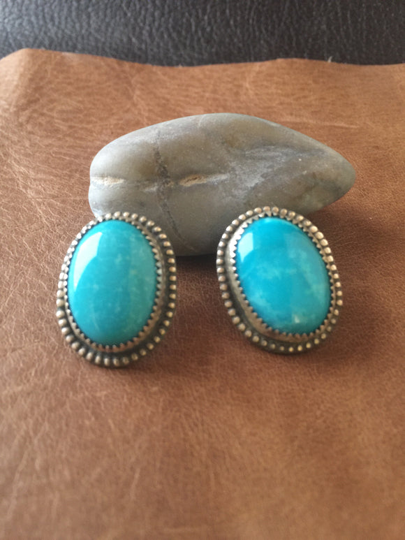 Oval Kingman Turquoise post earrings
