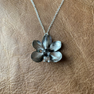Sterling Silver Orchid Necklace