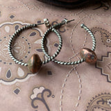 Sterling Silver hoop earrings with sliding copper balls