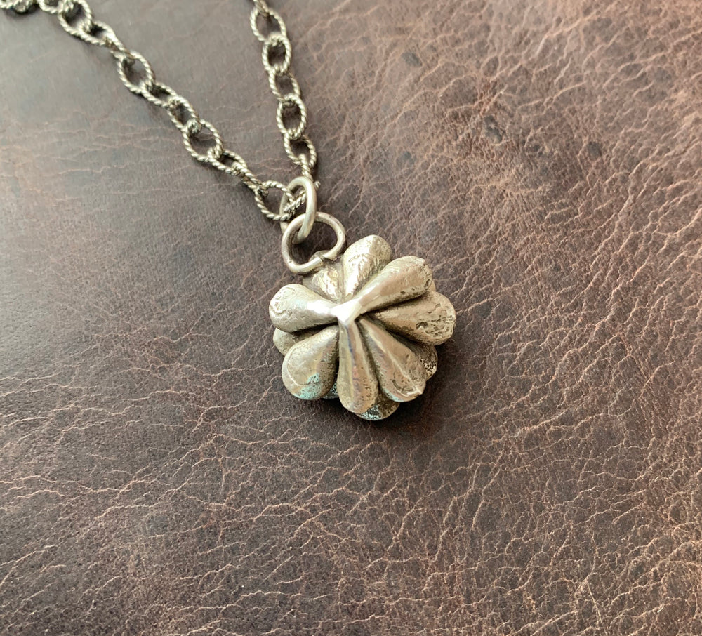 Sterling Silver flower with Kingman turquoise