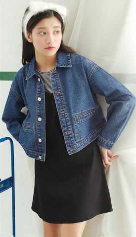 JC-005 Point collar button front long sleeve denim cropped jacket.