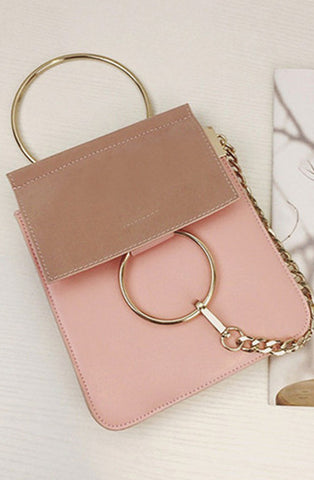 CA-1448 Mini size, suede flap, with clasp/chain design.