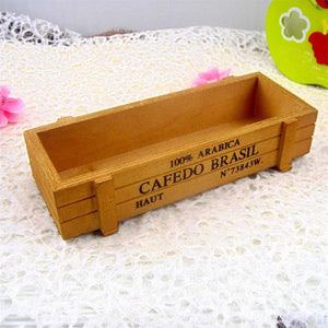 22cm Vintage Wooden Storage Box Flower Bonsai