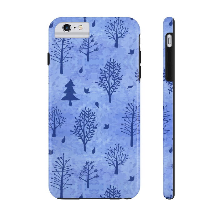 Winter Trees Tough Phone Cases - Blue