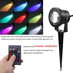 10W RGB LED Lawn Light Remote Control with Spike