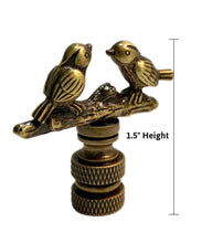 "Load image into Gallery viewer, Songbirds Lamp Finial Antique Brass Metal 1.75""h"