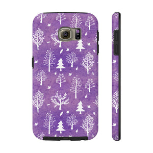 Winter Trees Tough Phone Cases - Purple