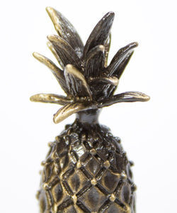 "Tall Pineapple Lamp Finial Antique Brass Metal 2.5""h"