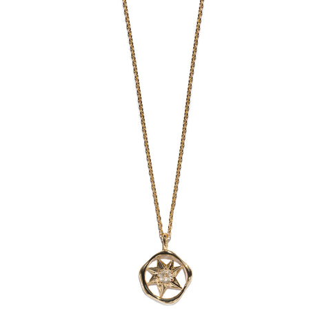 Aletheia & Phos Cosmos Solstice Shield Necklace - Gold & Rutile Quartz