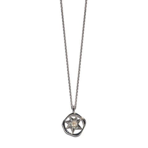 Aletheia & Phos Cosmos Solstice Shield Necklace - Silver & Rutile Quartz
