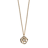 Aletheia & Phos Cosmos Solstice Shield Necklace - Gold & Rainbow Moonstone