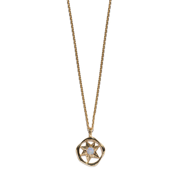 Aletheia & Phos Cosmos Solstice Shield Necklace - Gold & Opal