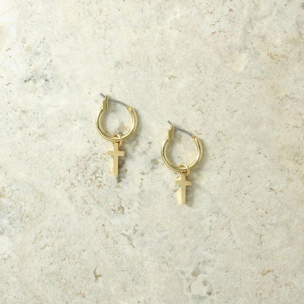 Vanessa Mooney The Teresa Gold Cross Earrings