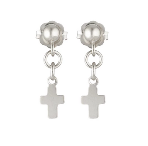 Elvis Et Moi Mini Silver Cross Earrings