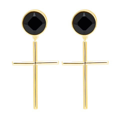 f+h jewellery 'johnny' onyx gemstone + cross earrings - 18k gold