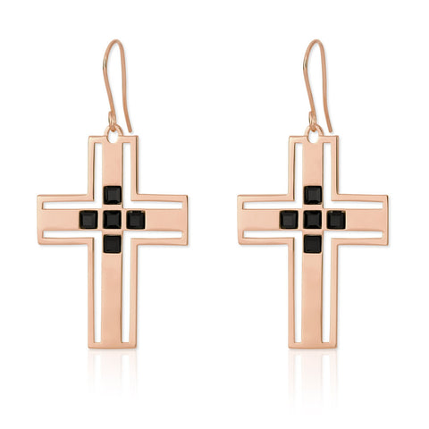 f+h jewellery 'richie' cross earring - 18k rose gold + onyx gemstones