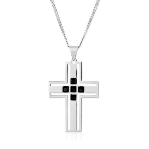 f+h jewellery 'the vivienne' cross pendant necklace - sterling silver + onyx gemstones