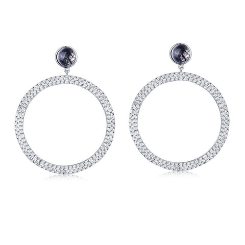 f+h jewellery 'the bianca' large hoop earrings - silver