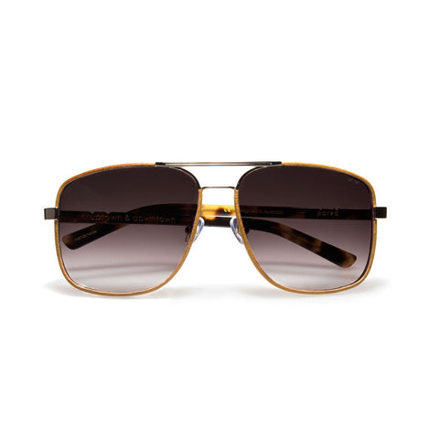 pared eyewear 'uptown & downtown' sunglasses - gold/tan leather/brown