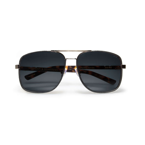 pared eyewear 'uptown & downtown' sunglasses - gold/black leather/grey