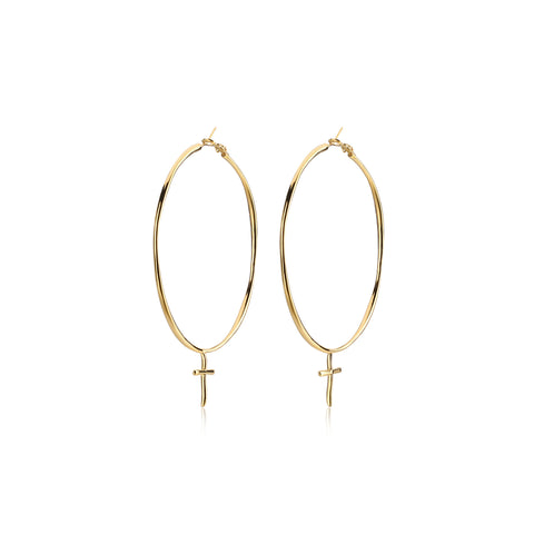 F+H Jewellery LA Woman Large Cross Hoops - Gold