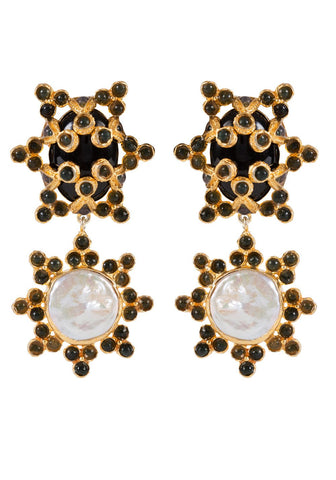 Christie Nicolaides Bettina Earrings - Black, Green & Pearl