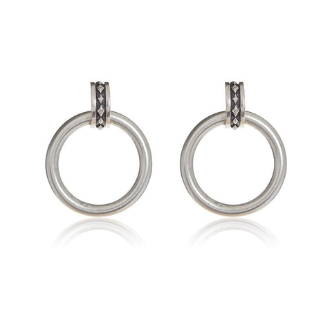 LUV AJ Evil Eye Statement Hoops - Silver