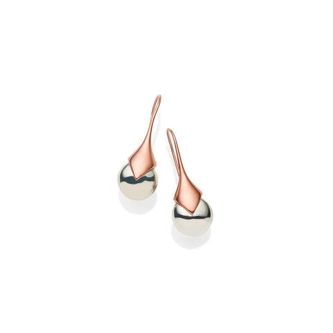 pushmataaha 'mini masai' earrings - rose gold plated brass & sterling silver