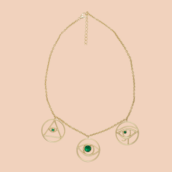 Gypseye Shai Silhouette Necklace - Green Calcite
