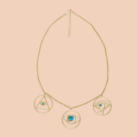Gypseye Shai Silhouette Necklace - Blue Topaz