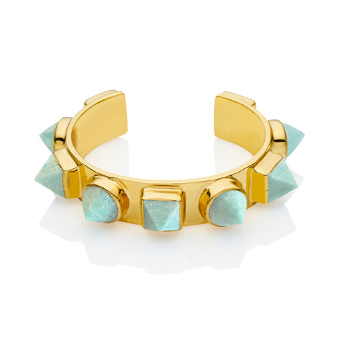pushmataaha 'nubian cuff' - gold & amazonite