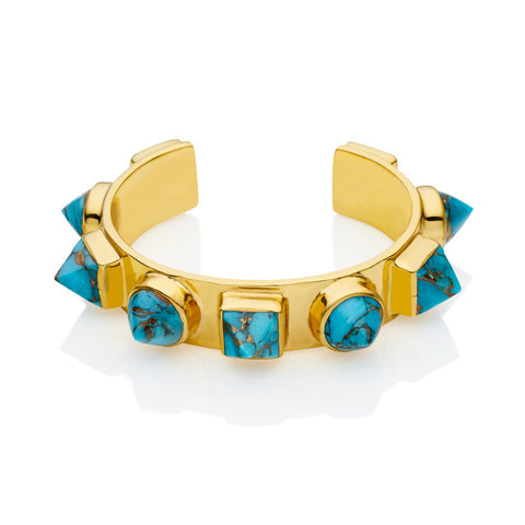pushmataaha 'nubian cuff' - brass & blue copper turquoise