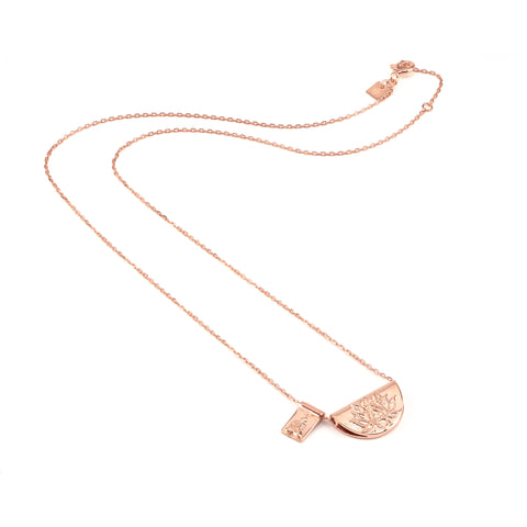 By Charlotte Rose Gold Lotus & Little Buddha Necklace