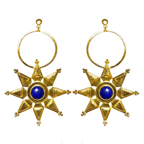 Mountain & Moon Sitara Earrings - Lapis Lazuli