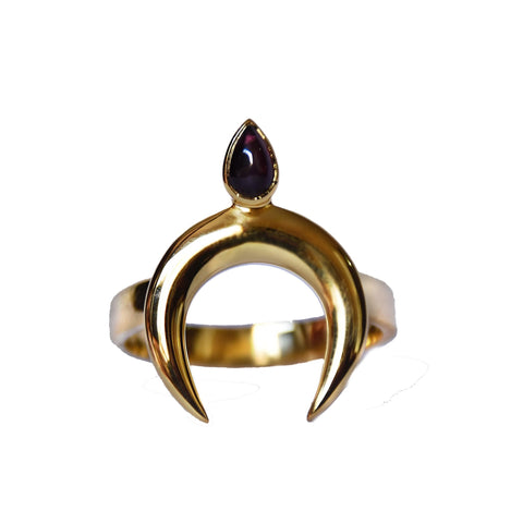 Mountain & Moon Tryst Ring - Garnet