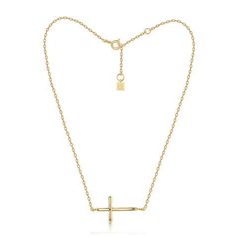 F+H Jewellery Soft Parade Fine Cross Choker - Gold