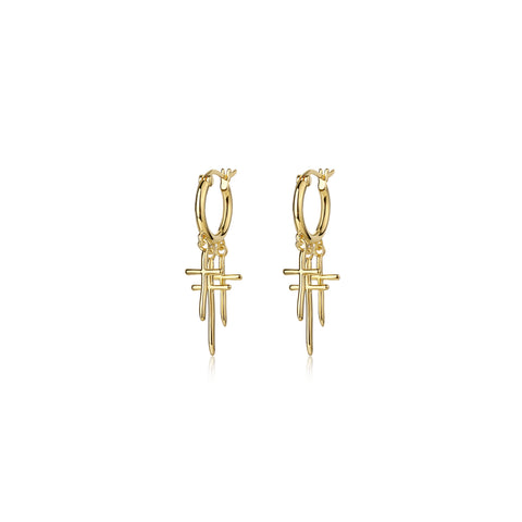 F+H Jewellery Strange Days Triple Cross Earrings - Gold