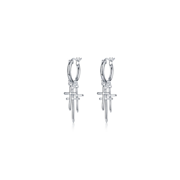 F+H Jewellery Strange Days Triple Cross Earrings - Silver