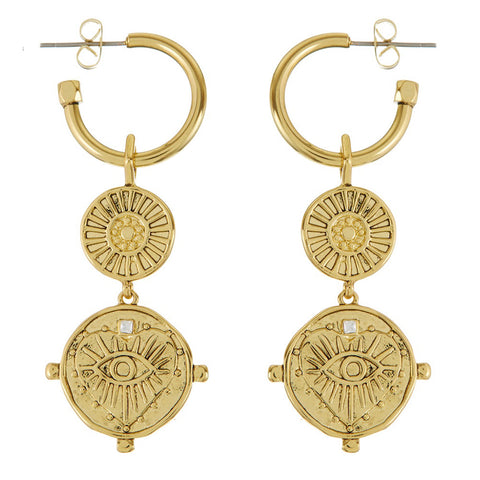 LUV AJ Evil Eye Double Coin Hoops - Gold