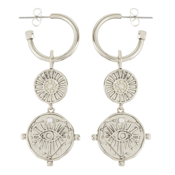 LUV AJ Evil Eye Double Coin Hoops - Silver