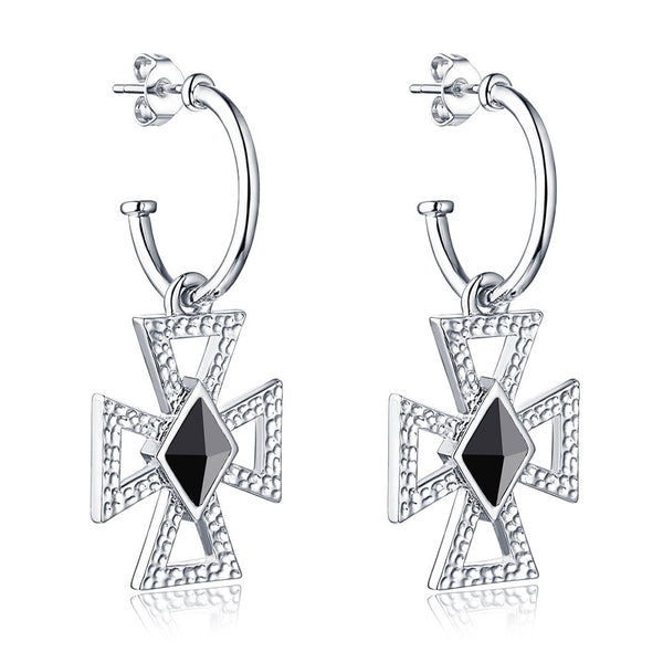 F+H Jewellery 'christie' hammered cross earring - sterling silver