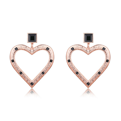 F+H Jewellery 'cindy' large heart earring - 18K rose gold + black onyx