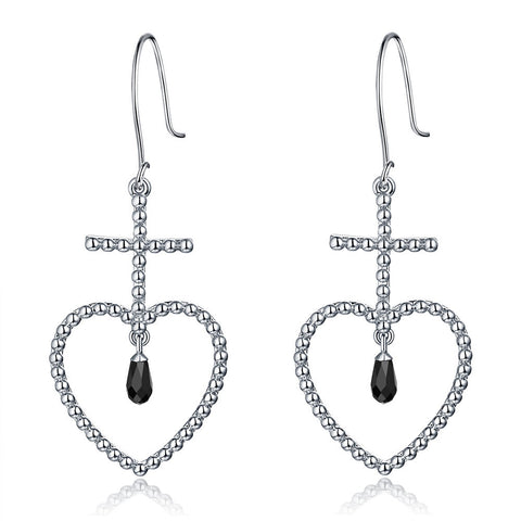 F+H Jewellery 'elle' beaded heart earring - sterling silver + black onyx