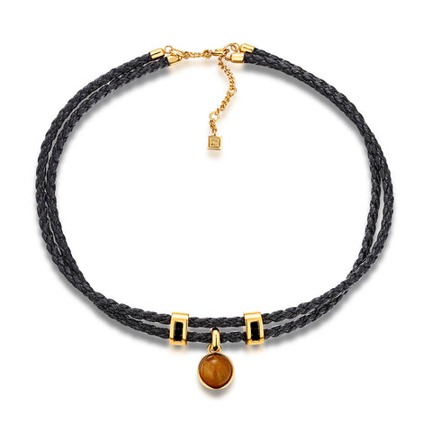 F+H Jewellery 'molly' leather choker - 22K gold + quartz