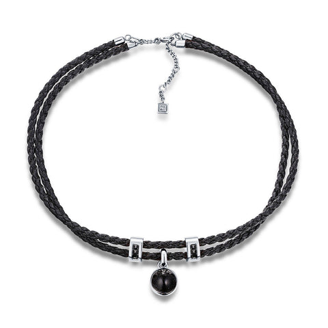 F+H Jewellery 'molly' leather choker - sterling silver + quartz