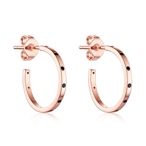 F+H Jewellery 'naomi' midi hoop earring - 18K rose gold