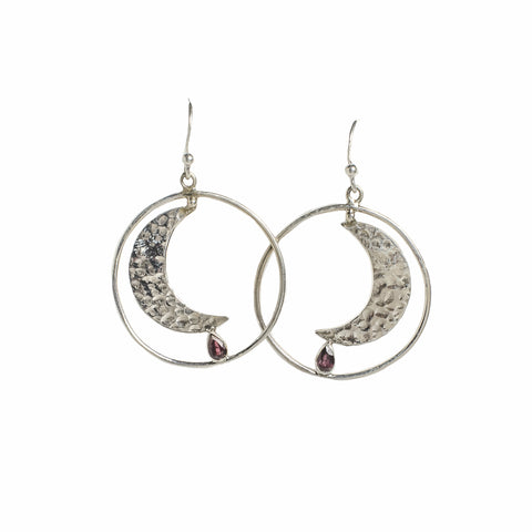 Mountain & Moon Artemis Earrings - Garnet