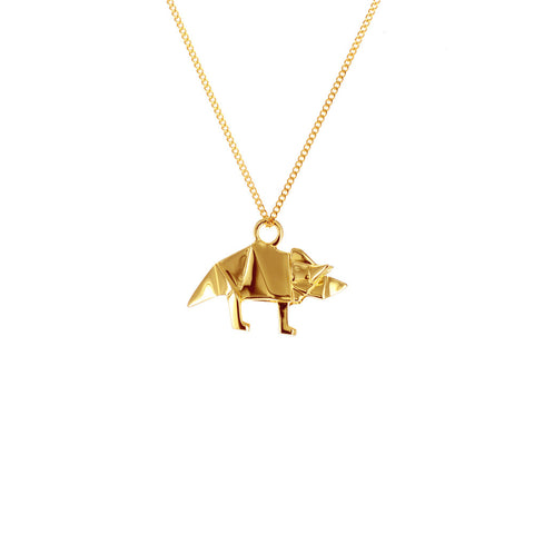 claire naa origami jewellery - 'gold triceratops'