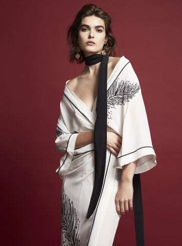 FOTOGENICO LONG WHITE SILK ROBE